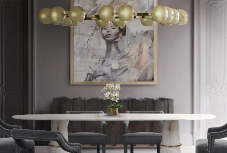 Golden Lighting Ideas Trends 2020 by BRABBU golden lighting design trends Golden Lighting Design Trends 2020 by BRABBU Golden Lighting Ideas Trends 2020 by BRABBU Agra Dining Table II  Horus Suspension Light  Oka Dining Chair  Kalina Rug 1 740x500